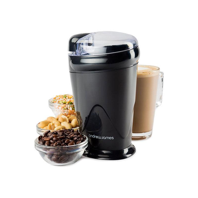 Andrew James Black Electric Coffee Grinder 70g 150W-1