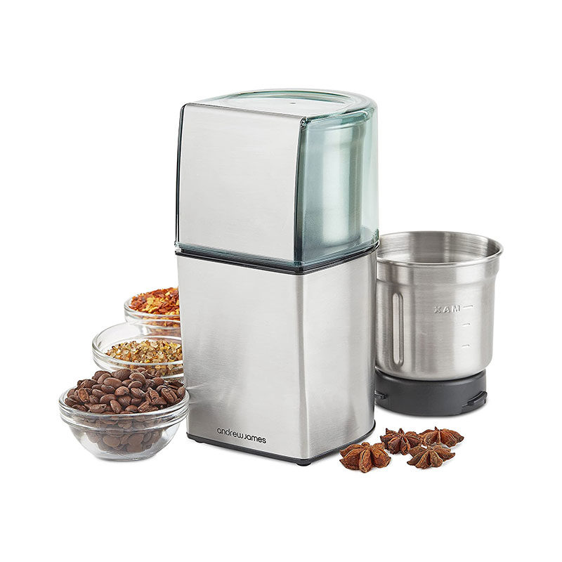 Andrew James Silver Electric Coffee Grinder Also 200W-1