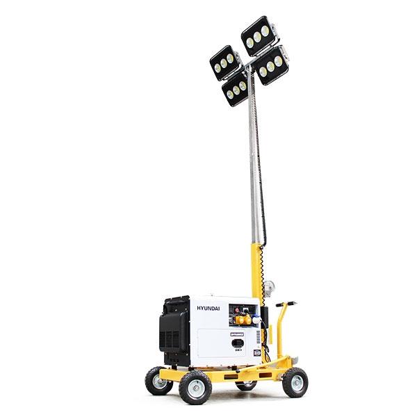 Evopower LT600-LED-D 600W LED Mobile Lighting Tower With DHY6000SE 5.2kW Diesel Generator | Hyundai Power Equipment