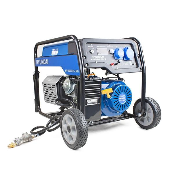 Hyundai HY10000LE-LPG. The 7.0kW/8.75kVA* Recoil & Electric Start Dual Fuel Site Petrol/LPG Generator | Hyundai Power Equipment