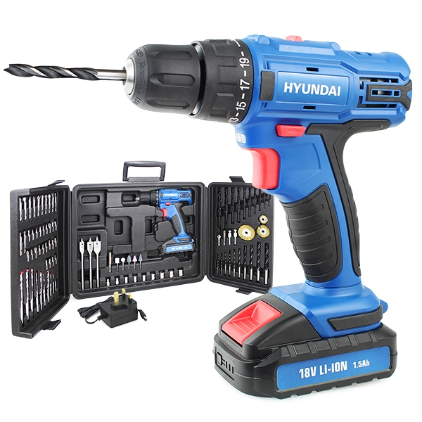 Hyundai HY2175 18v 1.5AH Li-Ion Cordless Drill with 89 Piece Drill Accessory Kit | Hyundai Power Equipment