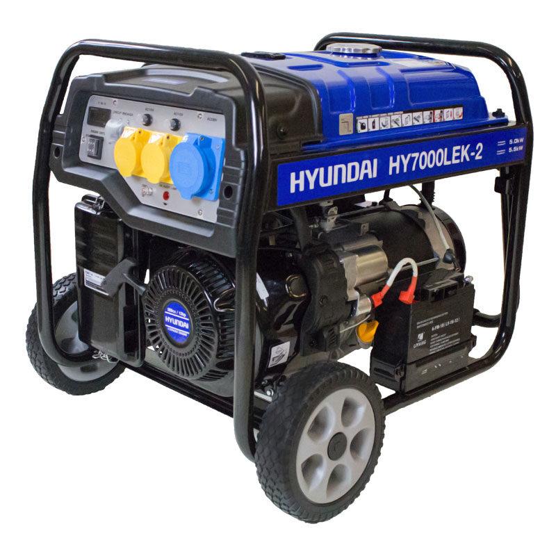 Hyundai HY7000LEK-2 5.5kW / 6.8kVa* Recoil & Electric Start Site Petrol Generator | Hyundai Power Equipment
