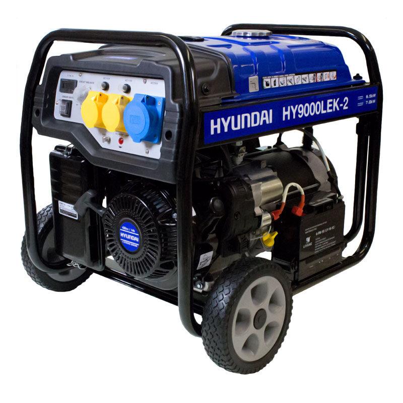 Hyundai HY9000LEK-2 7kW / 8.75kVa* Recoil & Electric Start Site Petrol Generator   Hyundai Power Equipment
