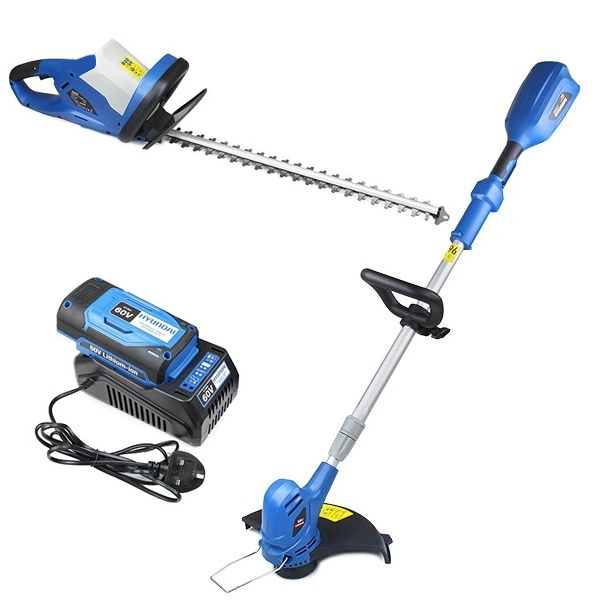 Hyundai HYHT60LI 60v Lithium-ion Battery Hedge Trimmer and Hyundai HYTR60LI-BARE Grass Trimmer Bundle | Hyundai Power Equipment