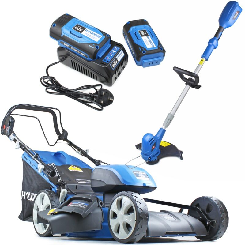 Hyundai HYM120LI510 2 x 60V Lithium Ion Cordless Battery Powered Self Propelled Lawn Mower Plus Grass Trimmer Bundle | Hyundai Power Equipment