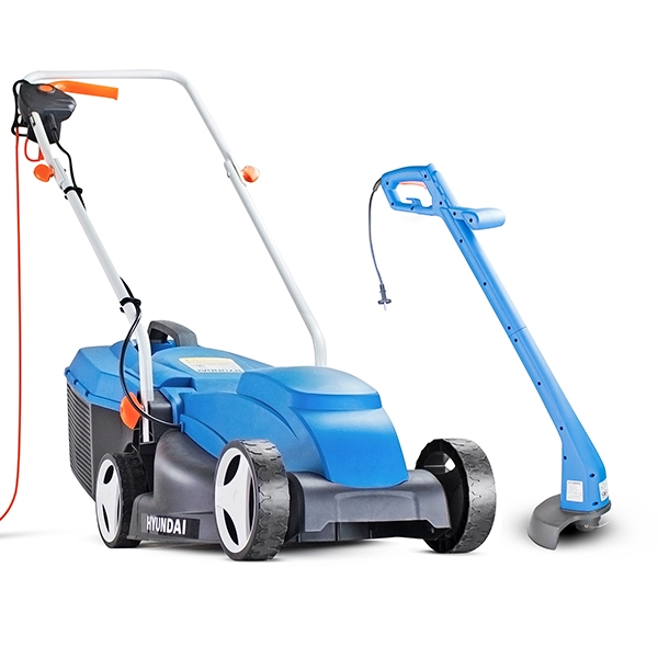 Hyundai HYM3200E+HYTR250E Corded Electric Lawn Mower and Trimmer Bundle | Hyundai Power Equipment