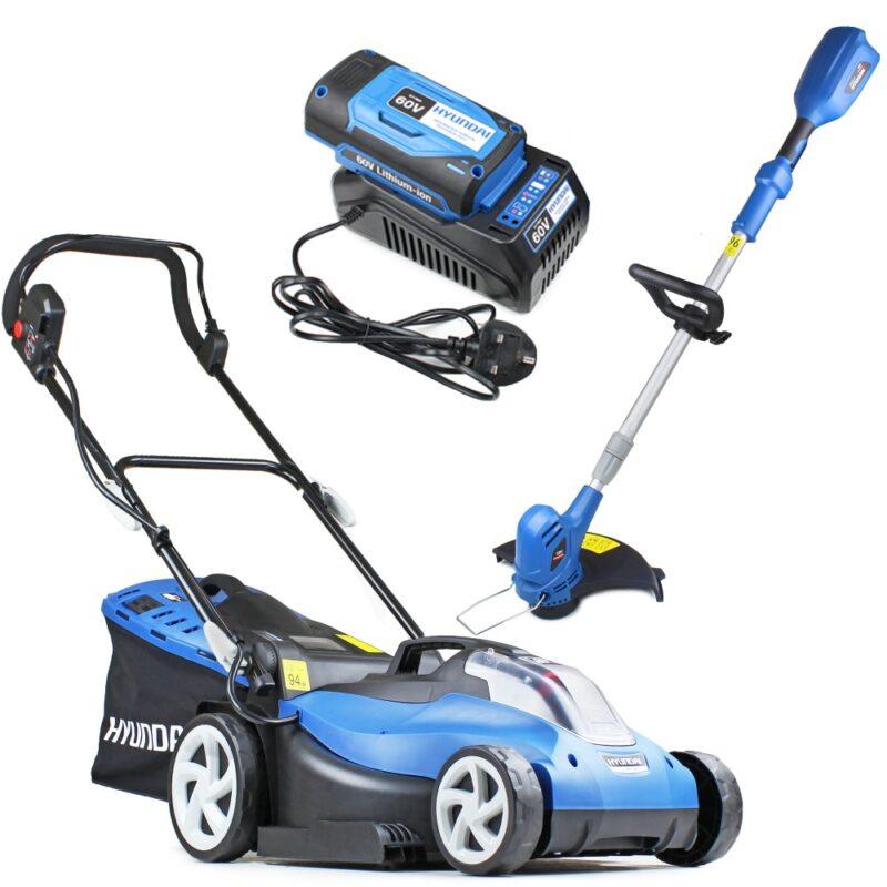 Hyundai HYM60LI420 60V Lithium Ion Cordless Battery Powered Roller Lawn Mower Plus Grass Trimmer Bundle   Hyundai Power Equipment